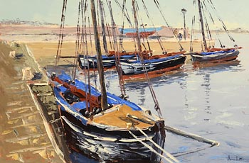 Ivan Sutton, Galway Hookers, Low Tide, Kinvara Harbour at Morgan O'Driscoll Art Auctions