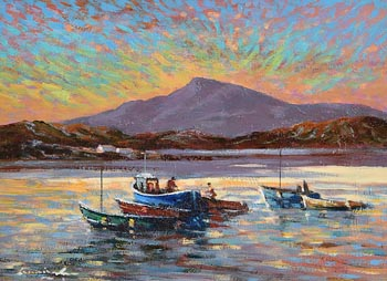 William Cunningham, Preparing the Boats, Croagh Patrick, Co. Mayo at Morgan O'Driscoll Art Auctions