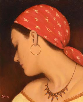 James Cahill, Girl with Red Scarf at Morgan O'Driscoll Art Auctions