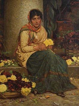 William John Hennessy, The Flower Seller (1874) at Morgan O'Driscoll Art Auctions