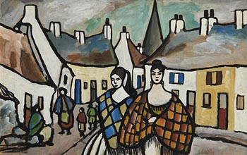 Markey Robinson, Shawlies in the Village (c.1960) at Morgan O'Driscoll Art Auctions