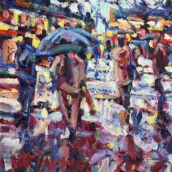 Arthur K. Maderson, Wet Evening, La Place de la Comedie, Montpellier, France at Morgan O'Driscoll Art Auctions