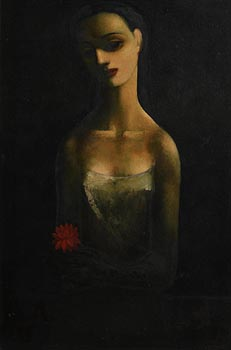 Daniel O'Neill, Girl with Flower (c.1958/62) at Morgan O'Driscoll Art Auctions