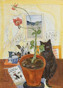 Pauline Bewick, Cat and Geranium (1980) at Morgan O'Driscoll Art Auctions