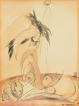 Louis Le Brocquy, Woman and Bird (1949) at Morgan O'Driscoll Art Auctions