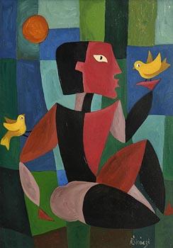 Basil Ivan Rakoczi, Figure with Birds at Morgan O'Driscoll Art Auctions