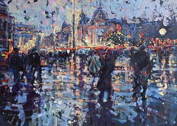 Arthur K. Maderson, Christmas Shopping - Wet Evening, Montpellier, France at Morgan O'Driscoll Art Auctions