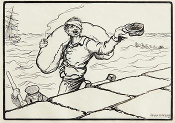 Jack Butler Yeats, Illustration to 'The Rio Grande: Capstan Chanty' at Morgan O'Driscoll Art Auctions