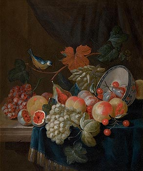 Charles Collins, Still Life with Grapes, Peaches, Plums and other Fruit, a Porcelain Bowl, and a Blue Tit, all on a Draped Table (1729) at Morgan O'Driscoll Art Auctions
