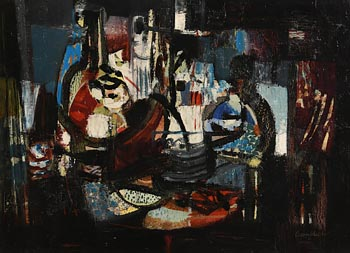 George Campbell, Still Life with Wine Bottle (1962) at Morgan O'Driscoll Art Auctions
