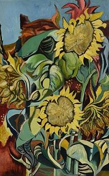 Marian Jeffares, Sunflowers at Morgan O'Driscoll Art Auctions