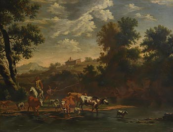 English School (18th Century), Watering the Herd at Morgan O'Driscoll Art Auctions