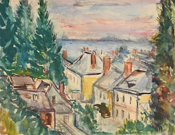 Norah Allison McGuinness, Rooftops, Howth (1940) at Morgan O'Driscoll Art Auctions