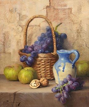 Robert Chailloux, Basket, Grapes, Apples and Walnut at Morgan O'Driscoll Art Auctions