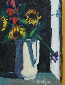 Brian Ballard, Sunflowers and Irises (2017) at Morgan O'Driscoll Art Auctions