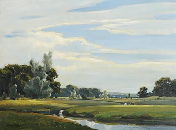 Frank McKelvey, Cattle Grazing by the Stream at Morgan O'Driscoll Art Auctions