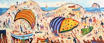Simeon Stafford, Umbrellas in the Dunes at Morgan O'Driscoll Art Auctions