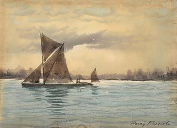 William Percy French, Sailing on Irish Waters(with Beach scene verso) at Morgan O'Driscoll Art Auctions