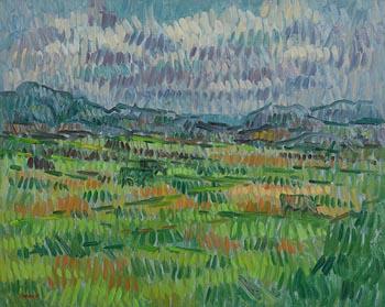 Desmond Carrick, Cattle Grazing on Bogland, Inishbofin at Morgan O'Driscoll Art Auctions