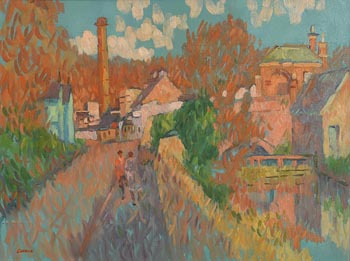 Desmond Carrick, Lucan Village at Morgan O'Driscoll Art Auctions