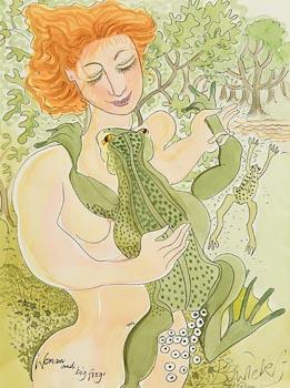 Pauline Bewick, Woman and Big Frog (1993/2001) at Morgan O'Driscoll Art Auctions