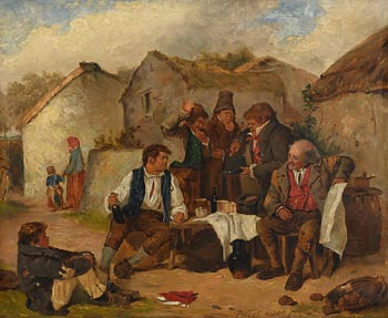 Erskine Nicol, Figures in a Village (1860) at Morgan O'Driscoll Art Auctions