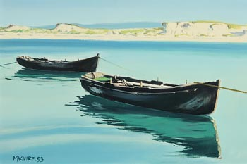 Cecil Maguire, Currachs, Dog's Bay (1993) at Morgan O'Driscoll Art Auctions