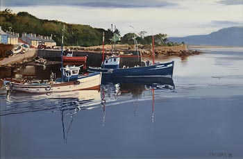 Cecil Maguire, First Boat Out, Roundstone, Connemara (1993) at Morgan O'Driscoll Art Auctions