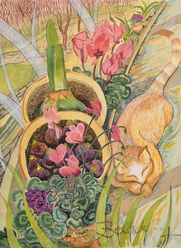 Pauline Bewick, Cat in Winter in the Glass House (1996) at Morgan O'Driscoll Art Auctions