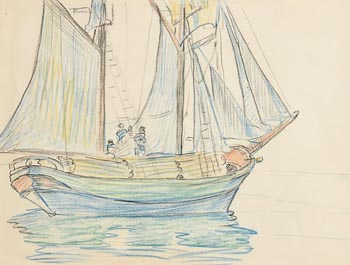 Mary Swanzy, Side View of Fishing Boat in Full Sail at Morgan O'Driscoll Art Auctions