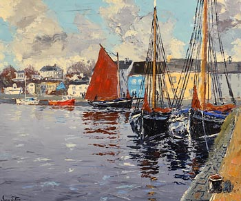 Ivan Sutton, Galway Hookers Kinvara Harbour, Galway at Morgan O'Driscoll Art Auctions