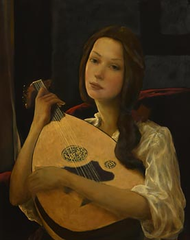 Ken Hamilton, Girl with Mandolin at Morgan O'Driscoll Art Auctions