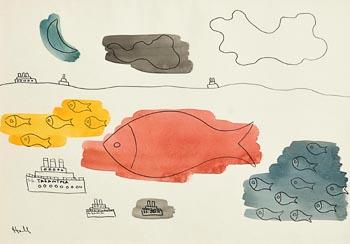 Kenneth Hall, Ships and Shoals of Fish at Morgan O'Driscoll Art Auctions
