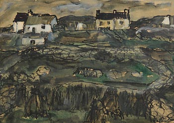 Kenneth Hall, Houses on Aran at Morgan O'Driscoll Art Auctions