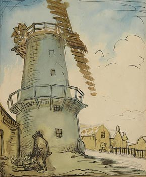 Sir William Orpen, Man Working before Cley Windmill, Norfolk at Morgan O'Driscoll Art Auctions