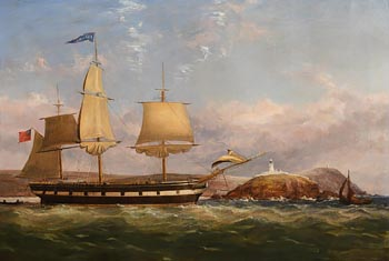 George Mounsey Wheatley Atkinson, A Barque passing Roches Point lighthouse, at the entrance to Cork Harbour (c.1850) at Morgan O'Driscoll Art Auctions