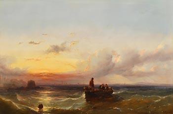 Edwin Hayes, Lobster Fishing, Dublin Bay at Morgan O'Driscoll Art Auctions