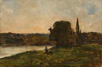 Nathaniel Hone, Landscape with Figures, Trees and River at Morgan O'Driscoll Art Auctions