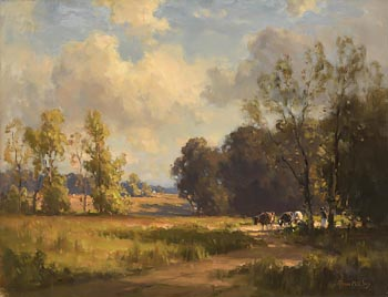 Frank McKelvey, Figure and Cattle in Evening Light at Morgan O'Driscoll Art Auctions