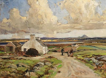James Humbert Craig, Figures on a Path before a Cottage, Bay and Mountains Beyond at Morgan O'Driscoll Art Auctions