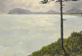 William Percy French, Tree by the Shore with Distant Mountains at Morgan O'Driscoll Art Auctions