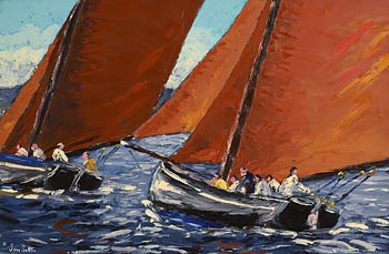 Ivan Sutton, Racing Galway Hookers, Carraroe Bay at Morgan O'Driscoll Art Auctions
