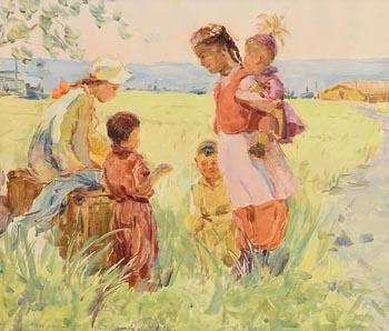 Mikhaeil Thorokohpukoloa, Children Near a Village at Morgan O'Driscoll Art Auctions