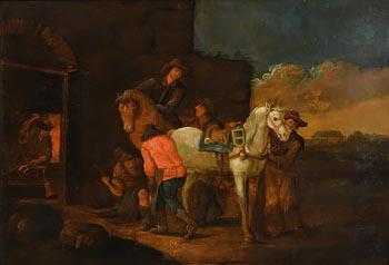 Follower of Pieter Van Bloemen, Visit to the Blacksmith at Morgan O'Driscoll Art Auctions
