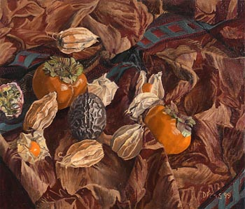 Dale Pring MacSweeney, Physalis, Persimmons and Passion Fruit (1999) at Morgan O'Driscoll Art Auctions