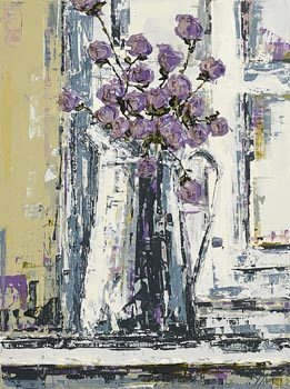 Yvonne Moore, Purple Flowers at Morgan O'Driscoll Art Auctions