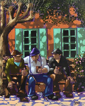George Callaghan, Sun and Shade in the Village Square at Morgan O'Driscoll Art Auctions