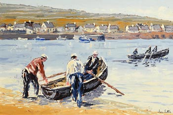 Ivan Sutton, Launching Currachs An Tr�, Inishmore, Aran Islands at Morgan O'Driscoll Art Auctions
