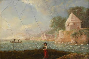 William Sadler, Coastal Landscape with a Girl Holding a Ewer in the Foreground, Fishermen in a Boat in the Background at Morgan O'Driscoll Art Auctions