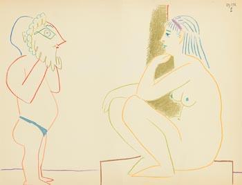 Pablo Picasso, Nue et Homme Masqu�, La Comedie Humaine (1954) at Morgan O'Driscoll Art Auctions